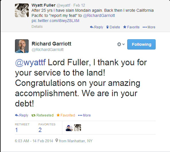 Lord British congratulates me!